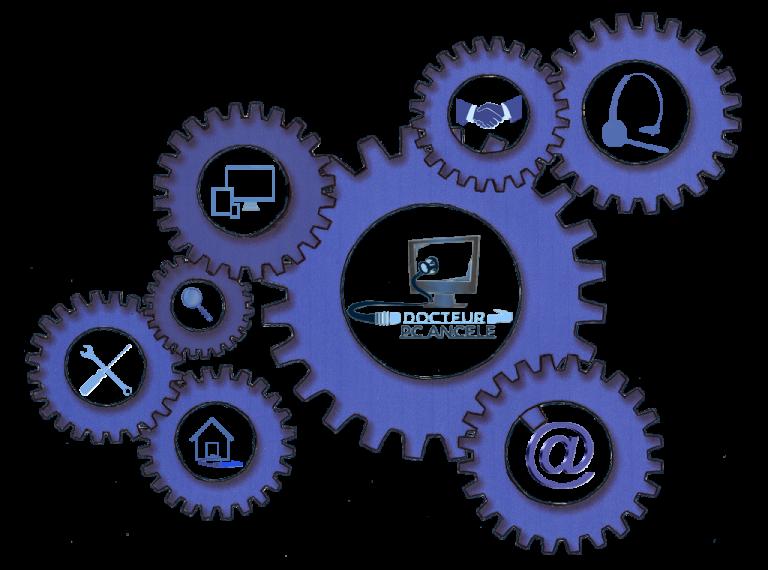 Engrenage qui représente les services proposés aux entreprises ainsi qu'au particuliers par Docteur PC Ancele
