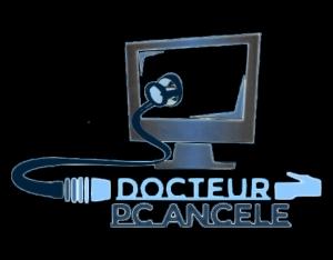 Logo de l'entreprise Docteur pc ancele avec un écran d'ordinateur duquel part un stethoscope finissant par un câble ethernet avec le nom Docteur Pc Ancele inscrit